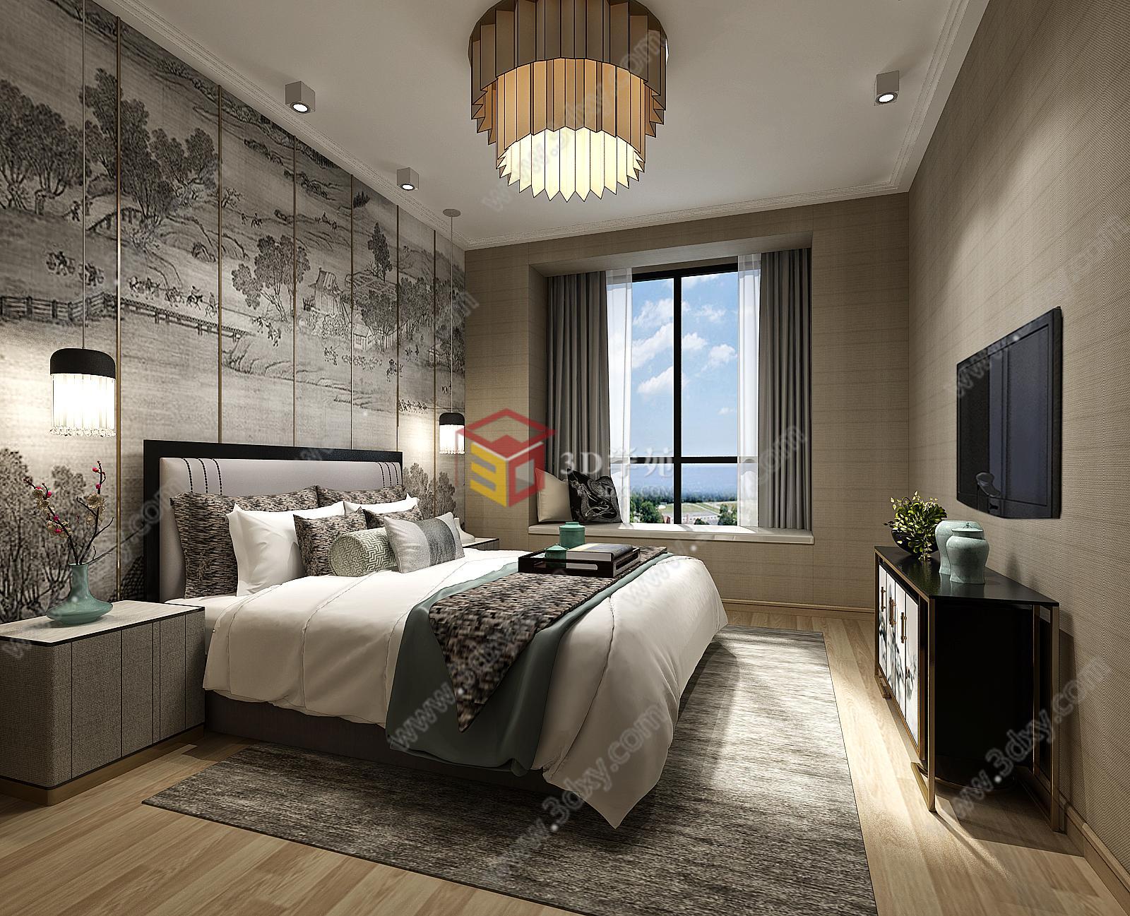 家装整体模型 卧室整体模型 中式卧室整体模型