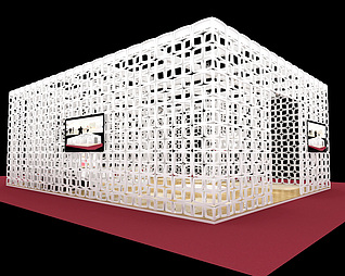 白色家具展台展览模型