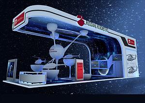 中俄直升機科幻電子展臺展覽模型