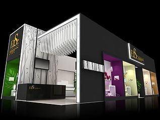 Elise纺织品展台展览模型