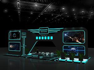 創戰紀熒光線條主題展臺展覽模型