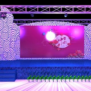中秋舞台3d模型