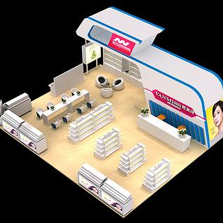 化妆品美妆用品展览设计展览模型