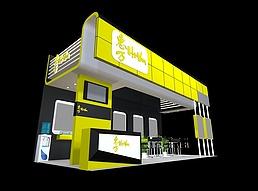 黄色展厅展览模型
