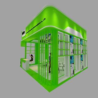 36平方现代绿色特装展位3d模型