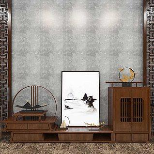 中式柜子,橱柜,书画,装饰3d模型