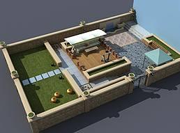 别墅小院景观展览模型