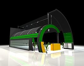 现代拱形展馆展览模型