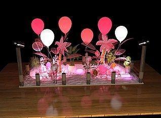 粉色节气展台美陈陈列展览模型