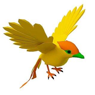 黄色卡通小鸟3d模型