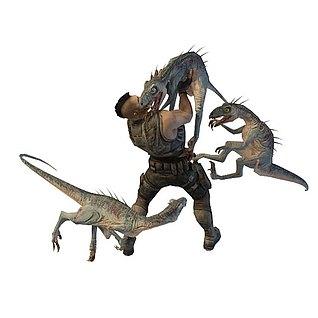恐龙猎食场景3d模型