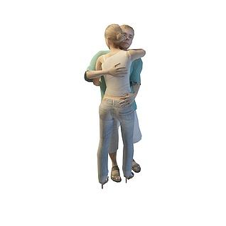 拥抱男女3d模型