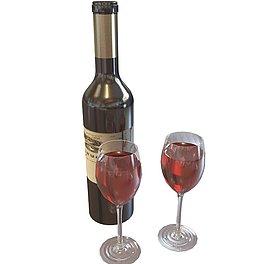 高脚红酒杯3D模型