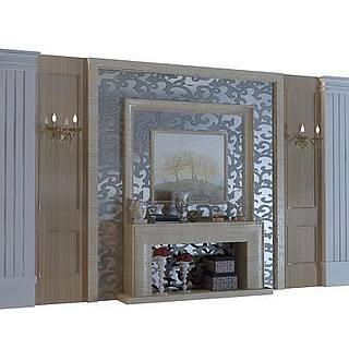 欧式背景墙3d模型