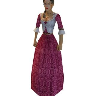 枚红色裙子女人3d模型