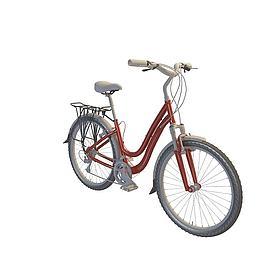 红色脚踏车3d模型