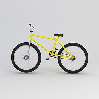 黄色自行车3d模型