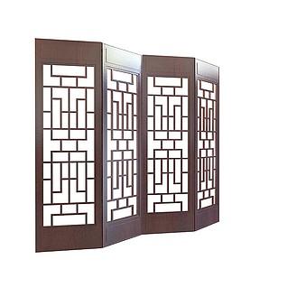 中式镂空隔断3d模型