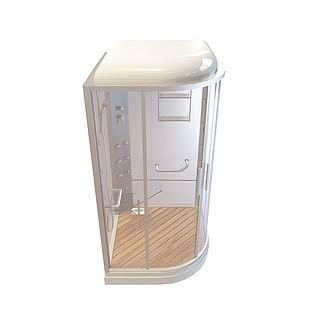 透明玻璃门淋浴房3d模型