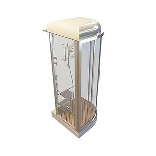 不锈钢边淋浴房3d模型