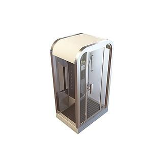 钢化玻璃淋浴房3d模型