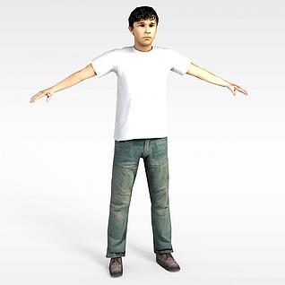 3d黑發男人模型