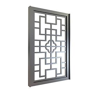 中式镂花窗3d模型