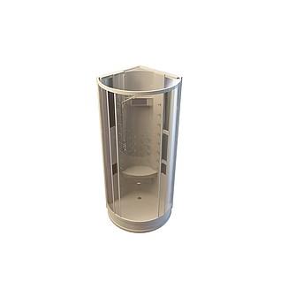 弧扇形淋浴房3d模型