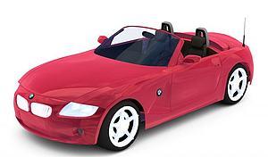 3d红色宝马敞篷车模型