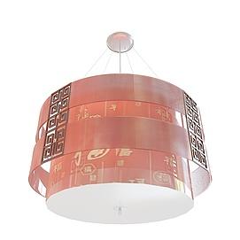 中式福字吊灯3d模型