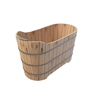 古式木桶浴桶3d模型