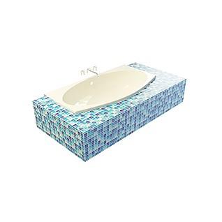 小瓷砖装饰浴缸3d模型