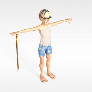 3d戴眼鏡<font class='myIsRed'>老人</font>模型