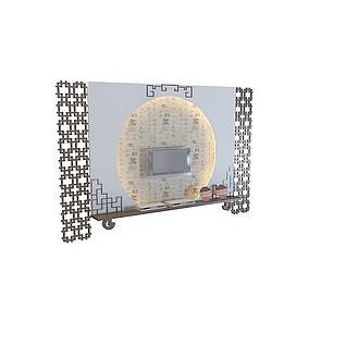 屏风式电视墙,3d模型