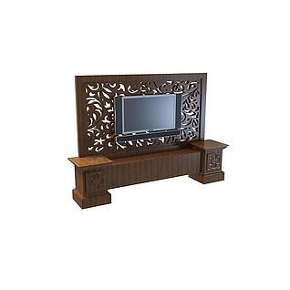 中式雕花电视墙3d模型