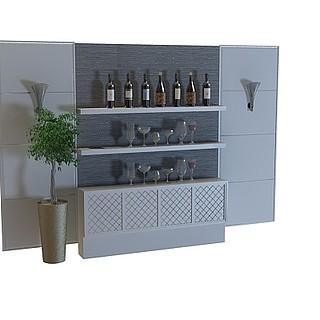 酒架背景墙3d模型