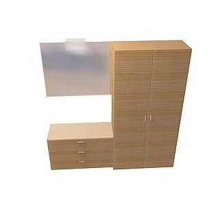 化妆间洗手台柜3d模型