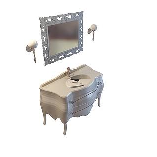 欧式豪华洗手台柜3d模型