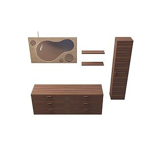 落地浴室柜3d模型