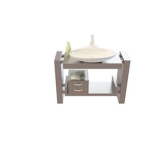 现代洗手台柜3d模型