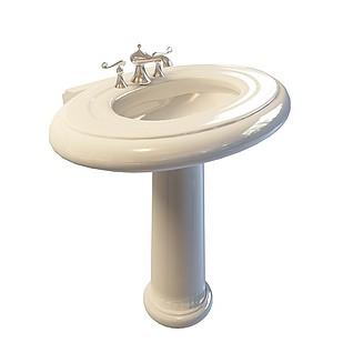 立柱式洗手台3d模型