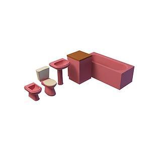 红色卫浴组合3d模型