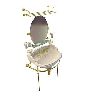 铜艺洗漱台3d模型