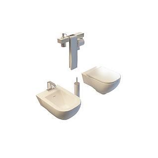 浴室马桶洗手台3d模型