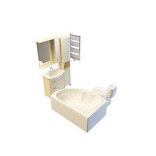 浴室柜洗手台组合3d模型