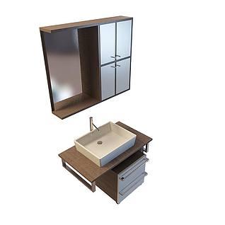 木制洗面台柜3d模型