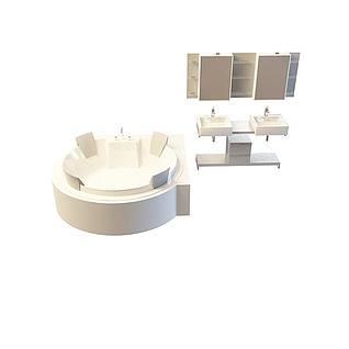 圆形浴池组合3d模型