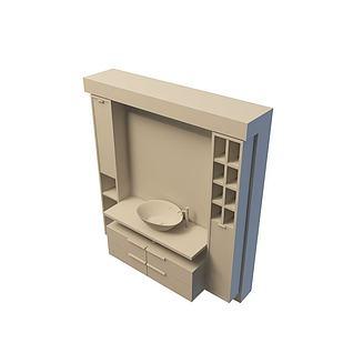 公司卫浴组合3d模型
