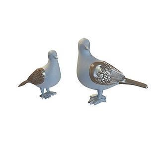 鸽子雕塑3d模型