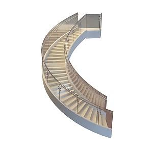 3d玻璃扶手楼梯模型
